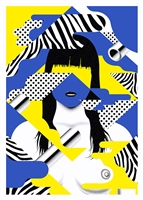 Cute Cut Blue 3 Art Print by Jean Leblanc