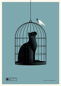 Cat Cage (blue) Art Print by Simon Marchner