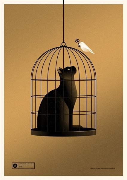 Cat Cage (gold) Art Print by Simon Marchner