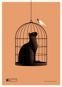 Cat Cage (orange) Art Print by Simon Marchner