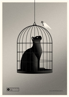 Cat Cage (silver) Art Print by Simon Marchner