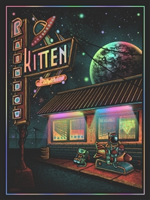 Rainbow Kitten Concert Poster by Luke Martin