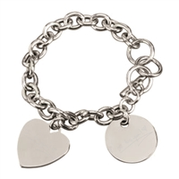 Personalized Bracelet w/ heart and disc charms