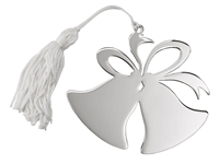"Double Bell Ornament w/ White Tassel, NP 3.5"" x 3.75"""