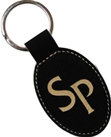 Vegan Leather Oval Black Key Ring