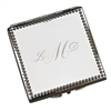 Beaded Border Square Compact Mirror
