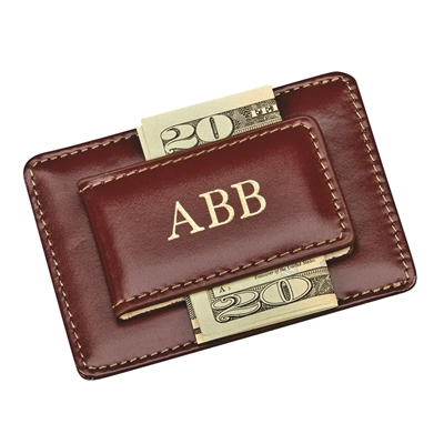 Brown leather money clip