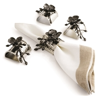Black Orchid Napkin Ring Set