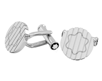 Montblanc Round Stainless Steel With Snowcap Emblem Cufflinks