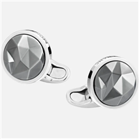 Montblanc round in silver with black ruthenium-coated inlay Cufflinks
