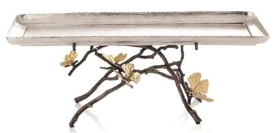 Butterfly Ginkgo Footed Centerpiece Tray
