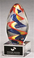 Colorful egg-shaped art glass award
