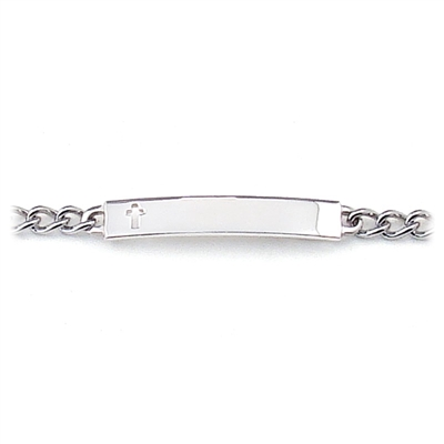 Children's ID Bracelet with Cut Out Cross Plaque