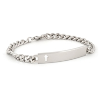 Ladies' ID Bracelet with Cut Out Cross Plaque