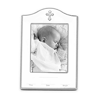 "Reed & Barton Silver Birth Record 4"" x 6"" Picture Frame"