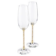 Swarovski Crystalline Toasting Flutes, Golden Shadow (Set of 2)
