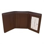 Tri- Fold Brown Leather Wallet