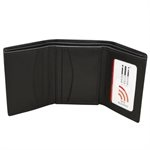 Tri-Fold Men's Black Leather Wallet