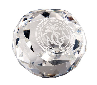 Diamond Cut Glass Award Paperweight