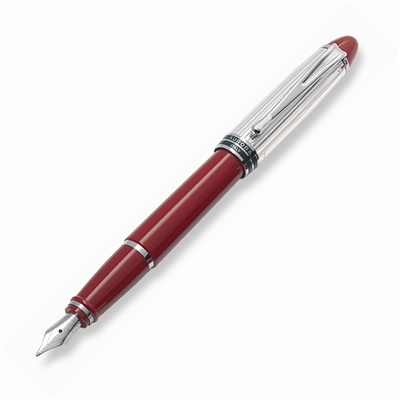 Aurora Ipsilon Sterling Silver Cap and Red Barrel Fountain Pen