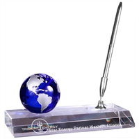 Crystal Globe with Base and Pen