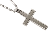 "STAINLESS STEEL CROSS PENDANT 24"" CURB CHAIN"