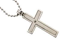 "STAINLESS STEEL CROSS PENDANT 30"" BALL CHAIN"