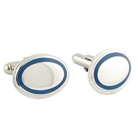 Sterling Silver Cuff Links with Blue Trim