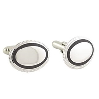 Sterling Silver Cuff Links with Black Trim