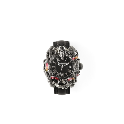 Chaos Automatic Watch, Silver & Enamel