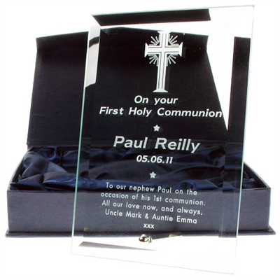 Clear Glass Award with Silver Plated Post