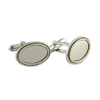 Sterling Silver Cuff Links with Gold Trim