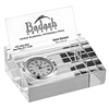 Crystal Business Card holder with Inlaid Clock