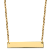 Sterling Silver/Gold-plated Medium Polished Blank Bar Necklace