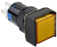 YuCo YC-16I-MAIN-FY-6 16mm Square Illuminated 5-Pin Push Button - Maintained - 12V AC/DC - Yellow