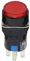 YuCo YC-16I-MAIN-YR-6 16mm Round Illuminated 5-Pin Push Button - Maintained - 12V AC/DC - Red