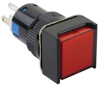 YuCo YC-16I-MOM-FR-6 16mm Square Illuminated 5-Pin Push Button - Momentary - 12V AC/DC - Red