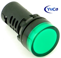 YuCo YC-22G-3 EUROPEAN STANDARD TUV CE LISTED 22MM LED PANEL MOUNT INDICATOR LAMP GREEN 220/240V AC
