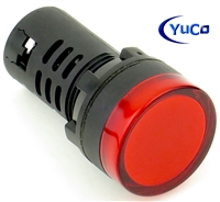 YuCo YC-22R-2 EUROPEAN STANDARD TUV CE LISTED 22MM LED PANEL MOUNT INDICATOR LAMP RED 120V AC/DC