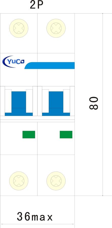 YC-50-2C 50A 2P C CURVE 480V DIN RAIL UL CERIFIED MINIATURE CIRCUIT BREAKER
