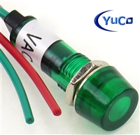 PACK OF 10 YuCo YC-9WRT-1G-24-10 GREEN LED 9MM 24V AC/DC