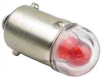 9mm B9E Bayonet LED Light AC/DC - Red - 24V