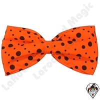 Clown Bow Tie Jumbo Orange With Black Dots