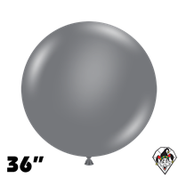 TUFTEX 36 Inch Round Deluxe Gray Smoke Balloons 2ct