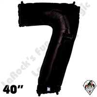 40 Inch Number 7 Black Megaloon Foil Balloon Betallic 1ct
