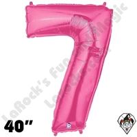 40 Inch Number 7 Pink Megaloon Foil Balloon Betallic 1ct
