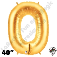 Betallatex 40 Inch Number 0 Gold Foil Megaloon Balloon 1ct