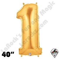 Betallatex 40 Inch Number 1 Gold Foil Megaloon Balloon 1ct