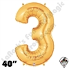 Betallatex 40 Inch Number 3 Gold Foil Megaloon Balloon 1ct