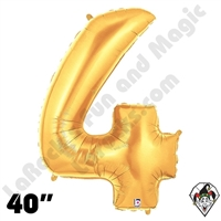 Betallatex 40 Inch Number 4 Gold Foil Megaloon Balloon 1ct